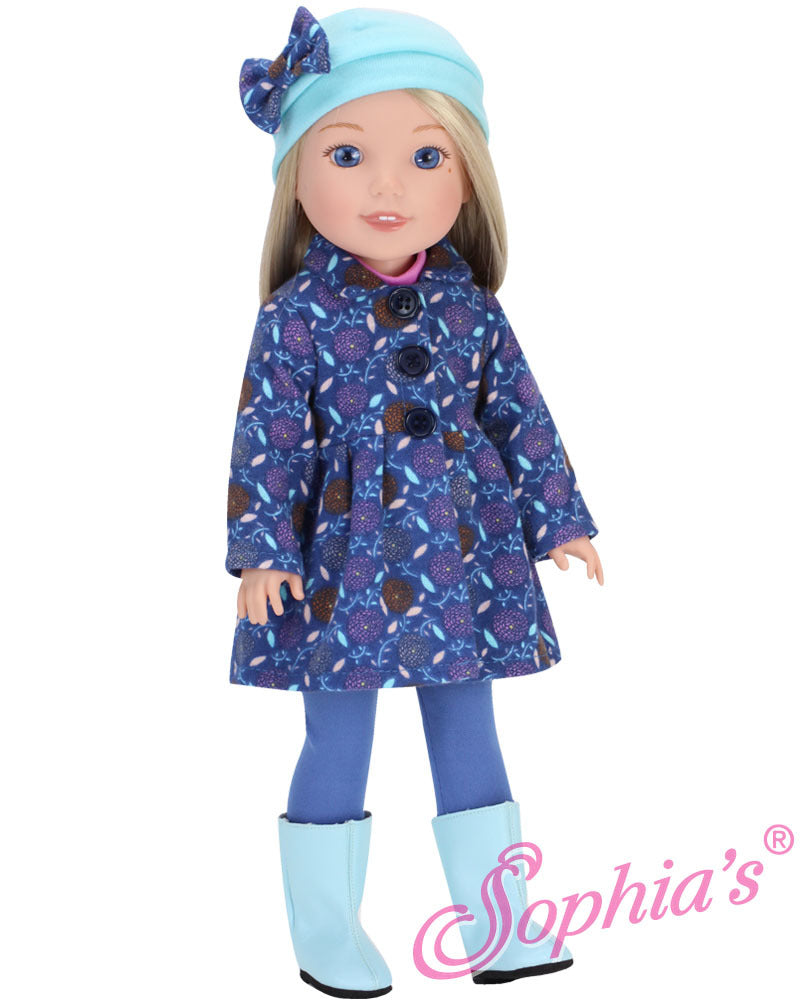 WW Blue Floral Coat, Matching Hat & Boots