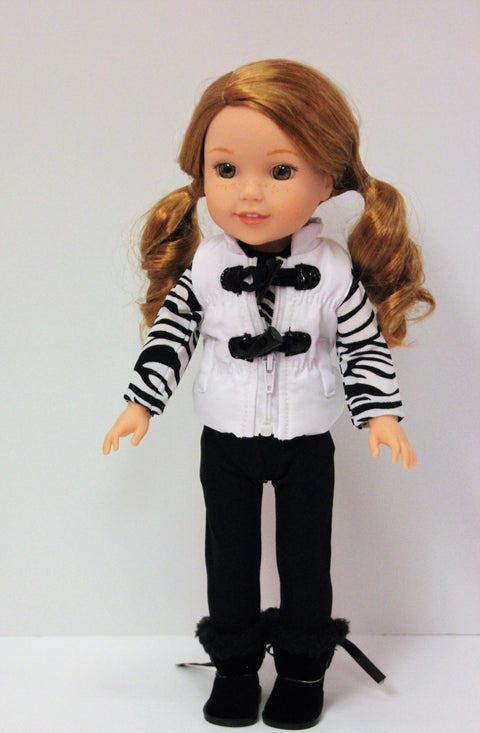 WW Puffer Vest, Zebra Top, Leggings & Boots