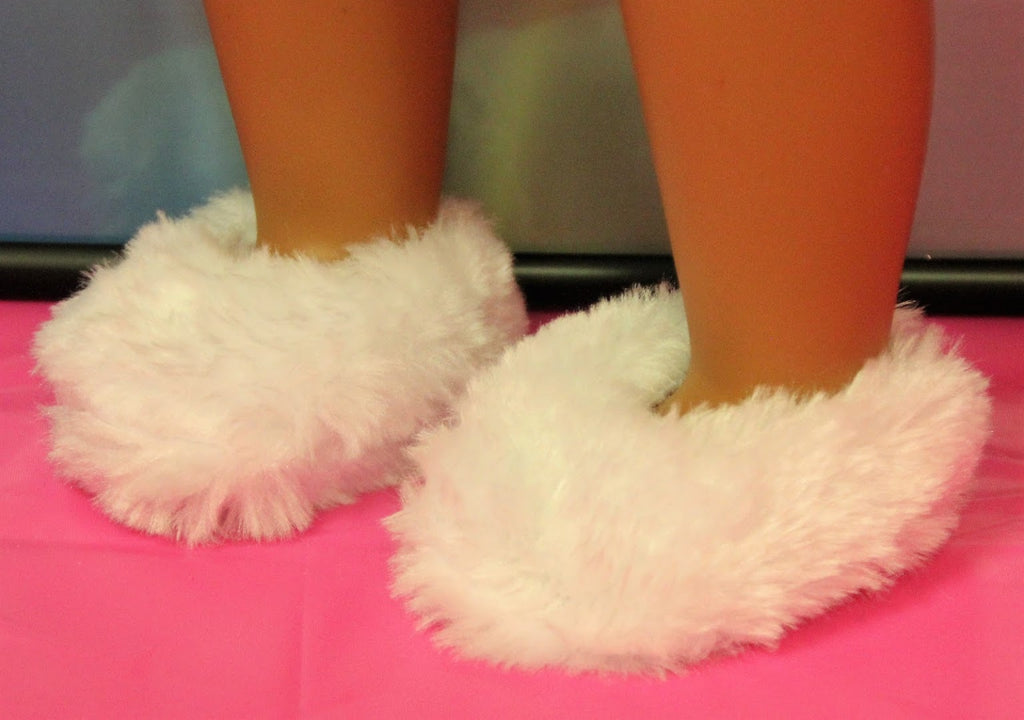 White Fuzzy Slippers