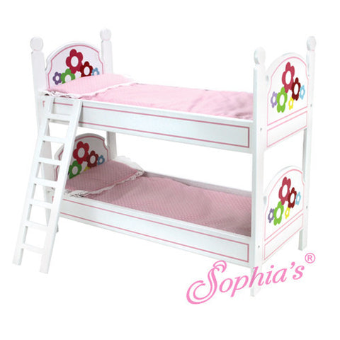 White Bunkbed with Ladder & Bedding