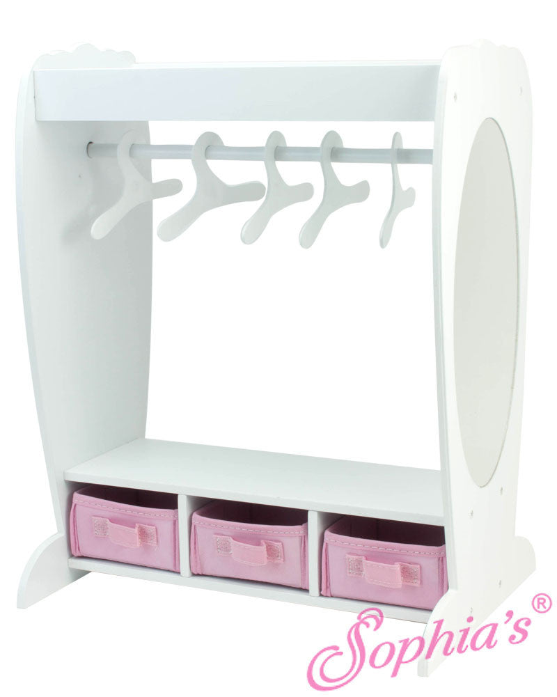 Clothing Rack, Mirror & Drawers