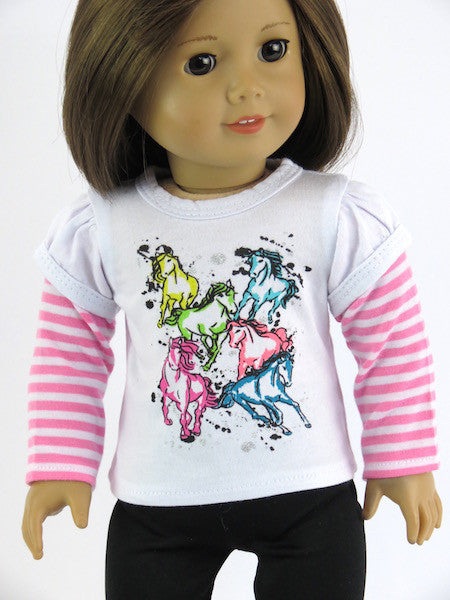 Colorful ponies shirt & black leggings