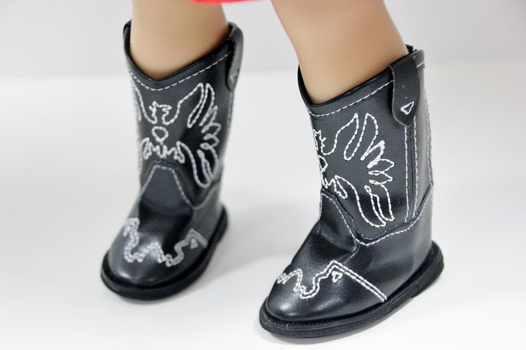 Black Cowgirl Boots with White Stitching