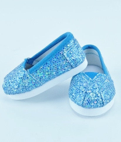 Sparkly Teal Slip On Shoes