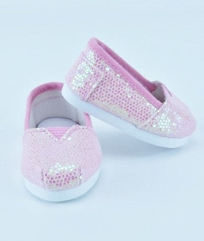 Sparkly Pink Slip On Shoes