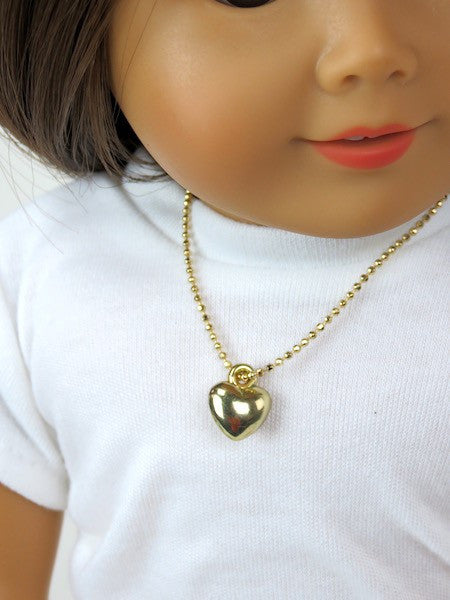 Gold Heart Doll Necklace