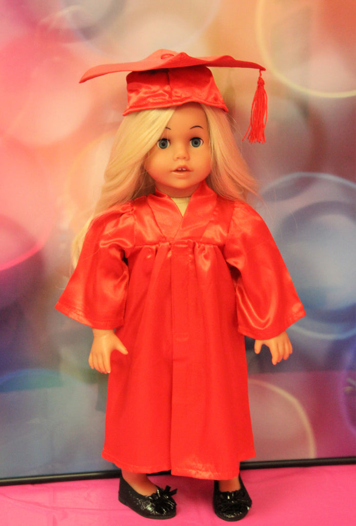 Red Graduation Cap, Gown & Diploma