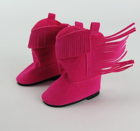 Hot Pink Cowgirl Boots with Side Fringe