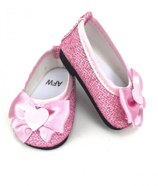 Pink Glitter Dress Shoes with Hearts & Bows