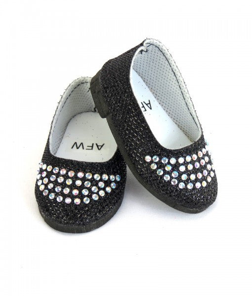 Black Slip On Shoes with Rhinestones