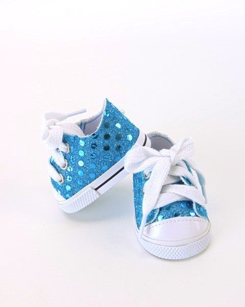 Teal Sequin Sneakers