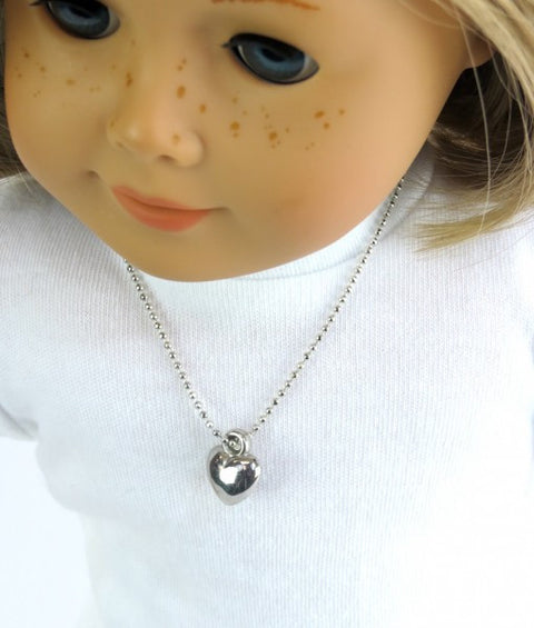Silver Heart Doll Necklace