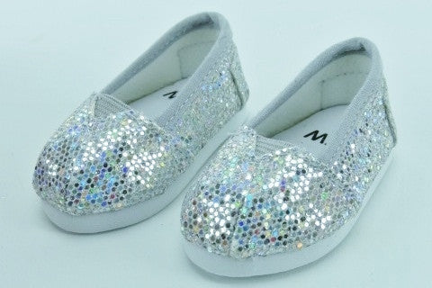 Sparkly Silver Slip On Shoes