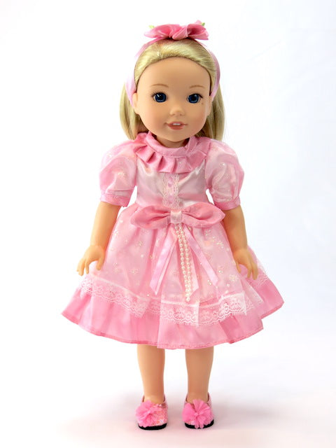 WellieWisher Pink Party Dress with Hair Flower