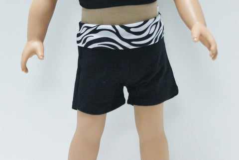 Black Sport Shorts with Zebra Waistband