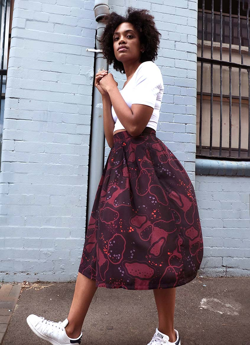 Midi Skirt – Germs in Space – Maroon