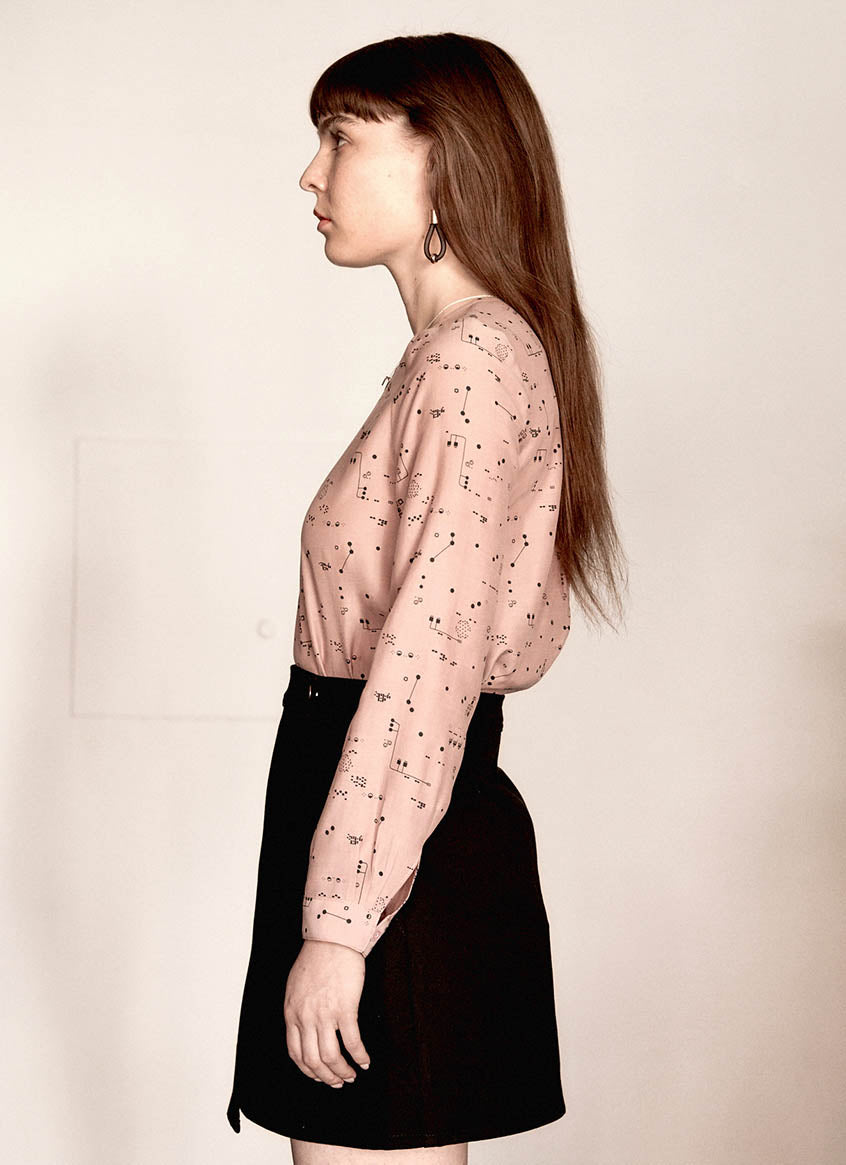 Long Sleeve Blouse - Control Panels - Pink