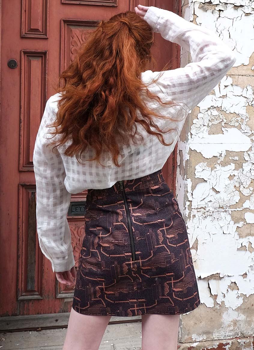 HAND PRINTED ZIP BACK SKIRT – HOT WAX - COPPER