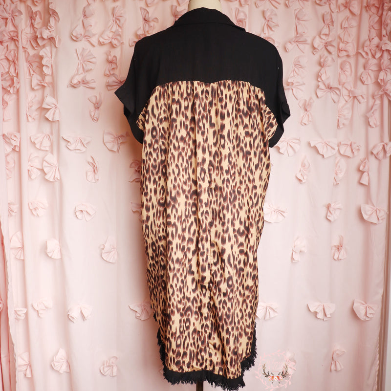 Black Leopard Back Dress