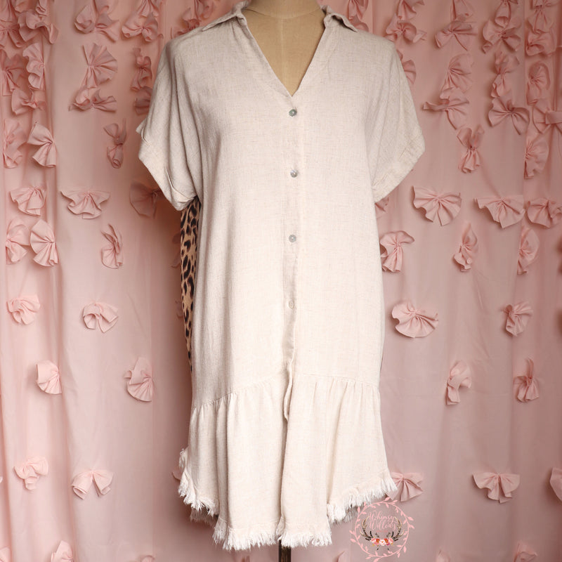 Cream Frayed Babydoll Dress
