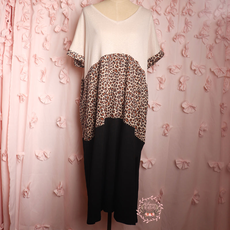 Cream Leopard Back Dress