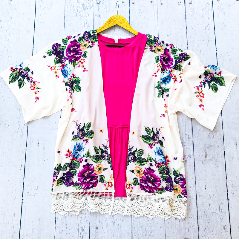 Cream Floral Kimono with Crochet Trim