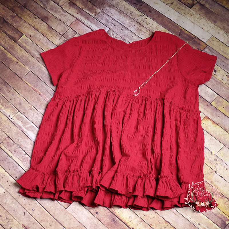 Red Babydoll Ruffle Top