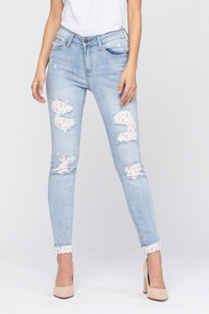 Floral Patch Skinny Jeans