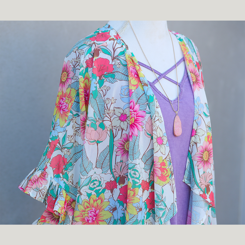 Cream Floral Kimono with Ruffle Sleeves