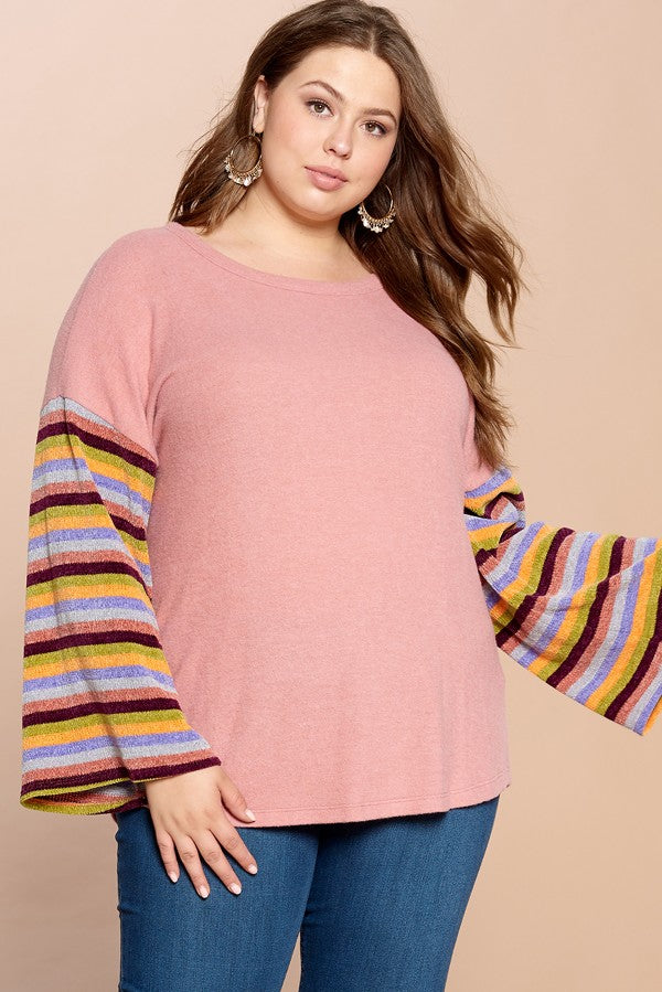 Mauve Top with Striped Sleeves