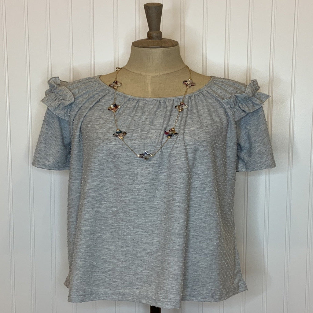 Grey Dotted Knit Top