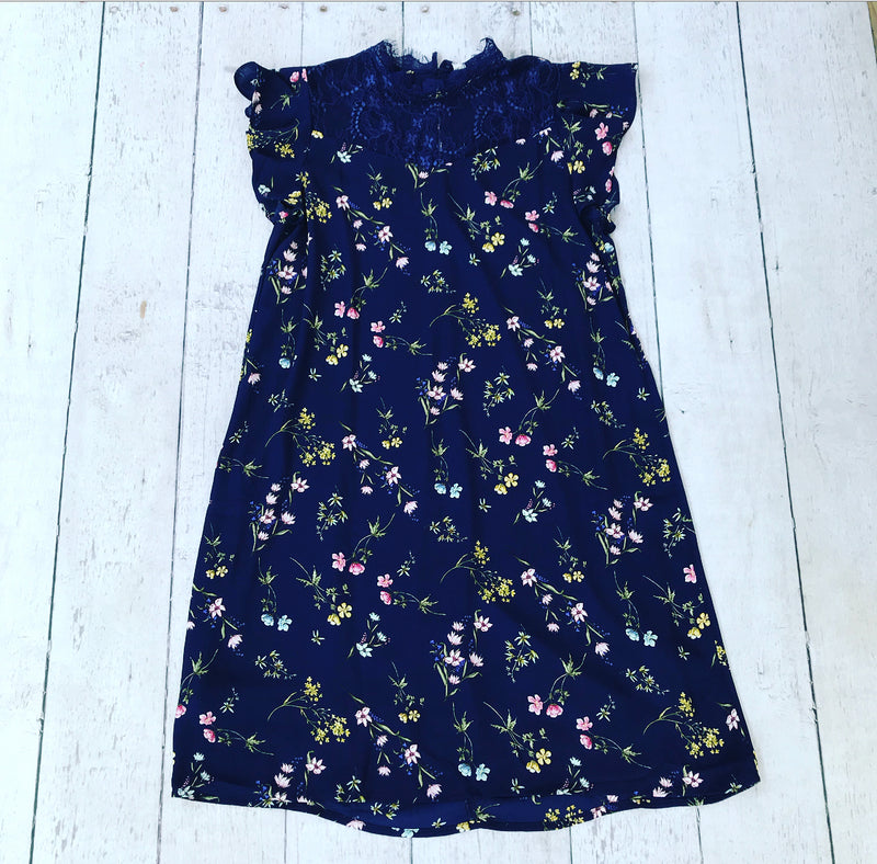 Navy Floral Dress with Lace Detail