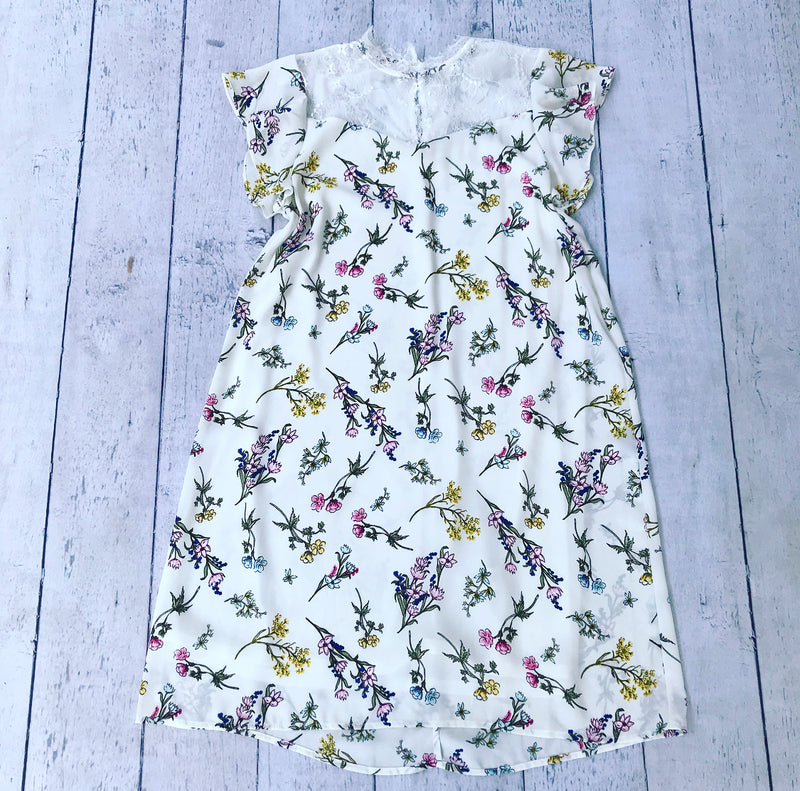 Cream Floral Dress with Lace Detail