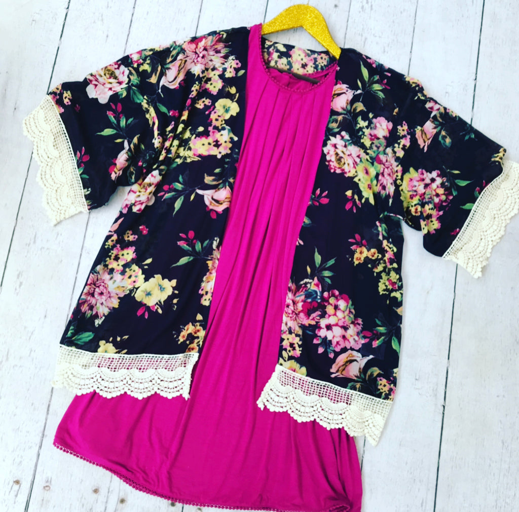 Navy Floral Kimono with Crochet Trim, Whimsy Willows Boutique