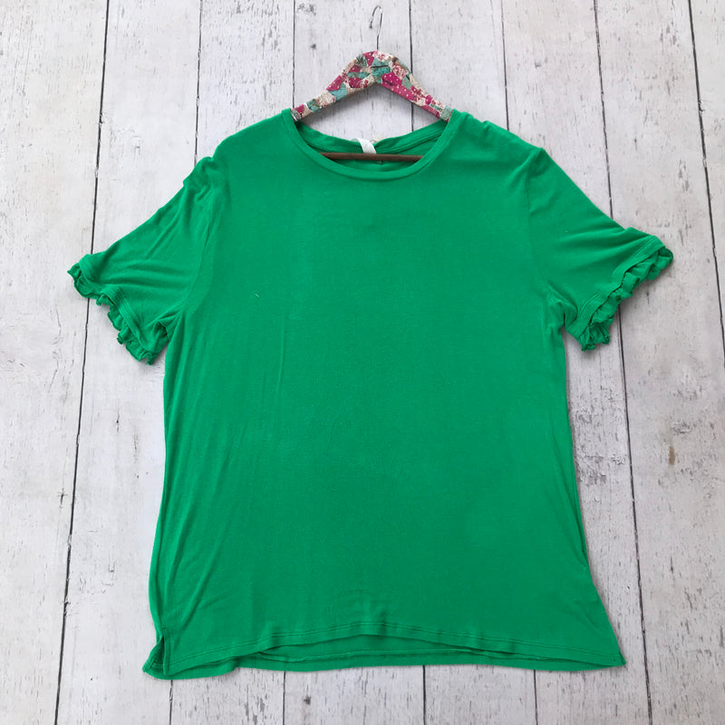 Green Top with Ruffled Sleeves