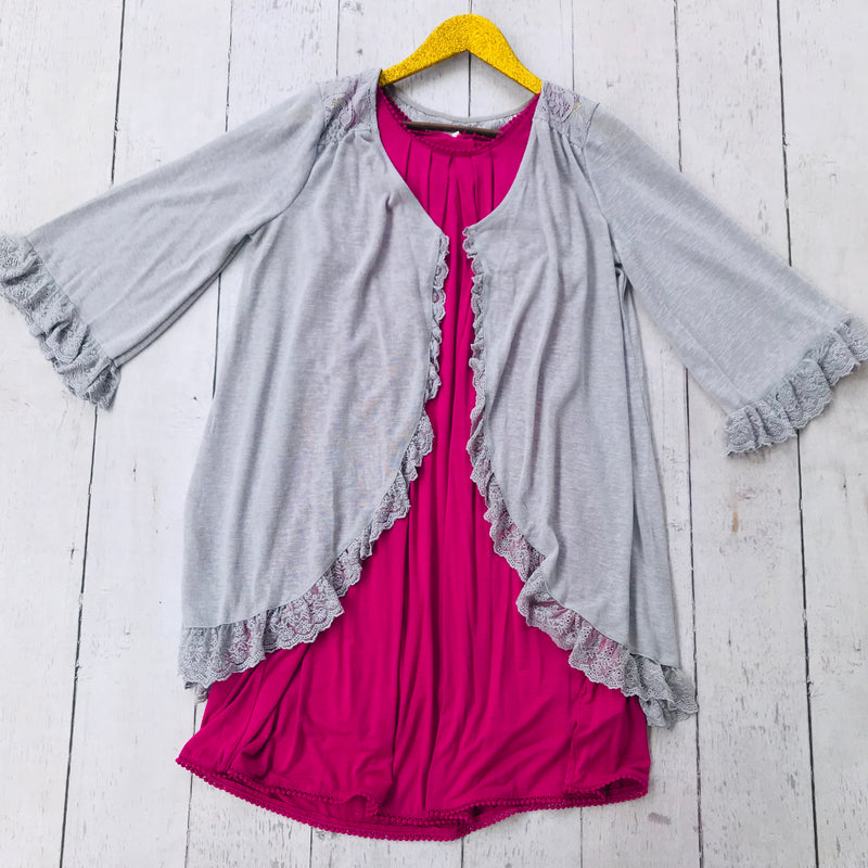 Grey Cardigan with Ruffle Detailing
