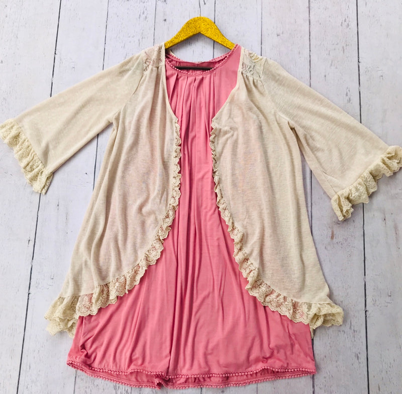 Cream Cardigan with Ruffle Detailing, Whimsy Willows Boutique