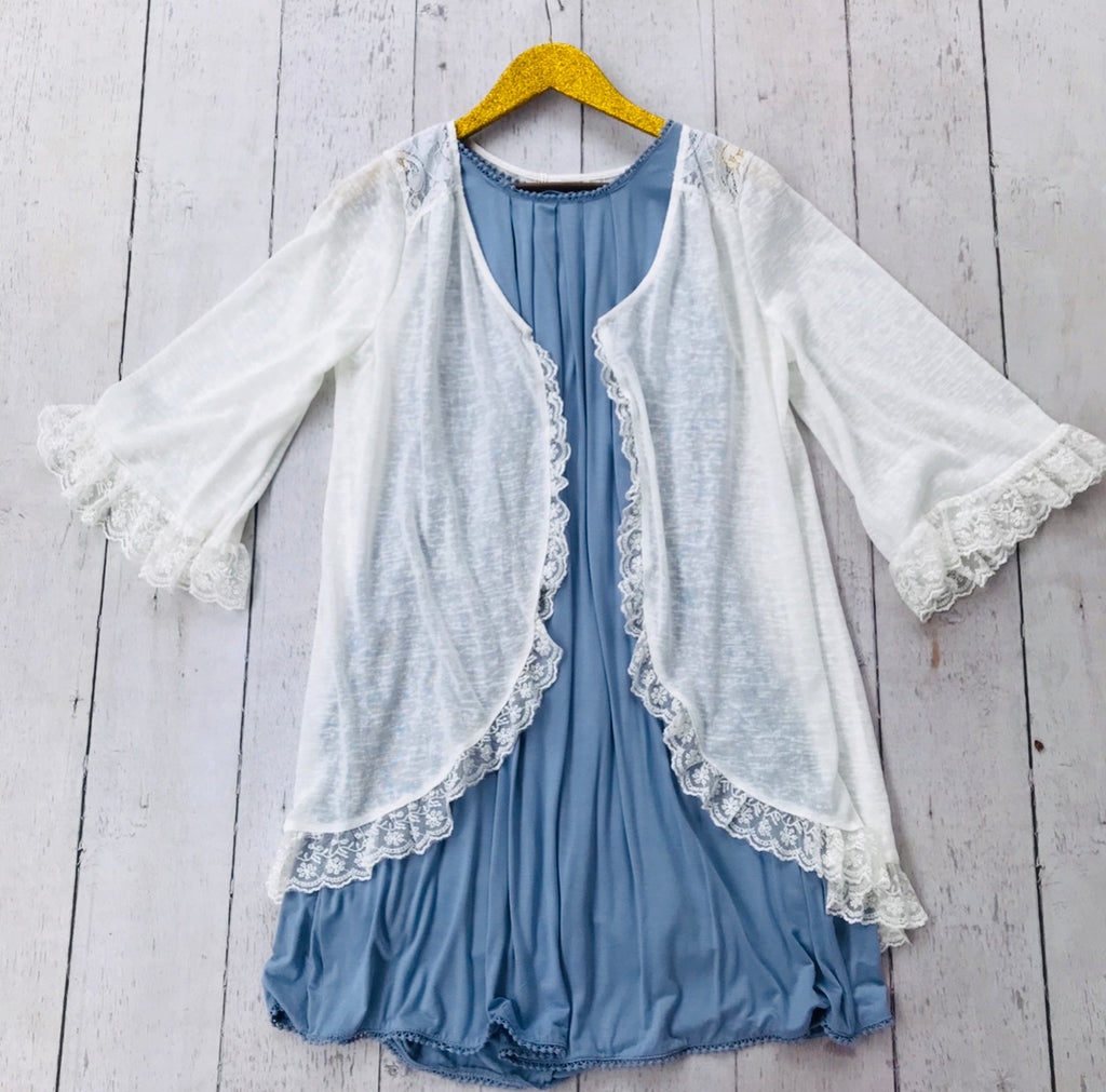 White Cardigan with Ruffle Detailing, Whimsy Willows Boutique