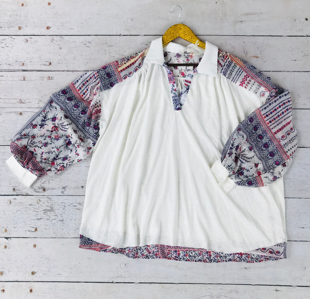 Cream Collared Top with Sheer Floral Sleeves