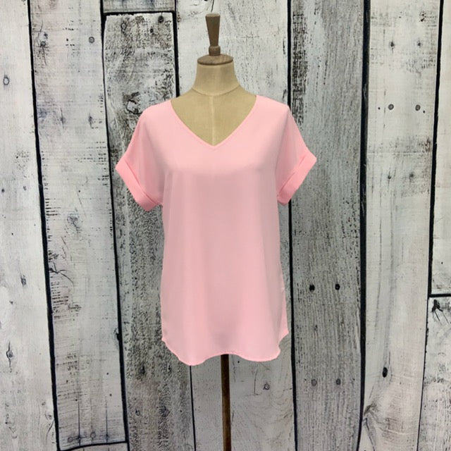 Light Pink Rolled Sleeve Top