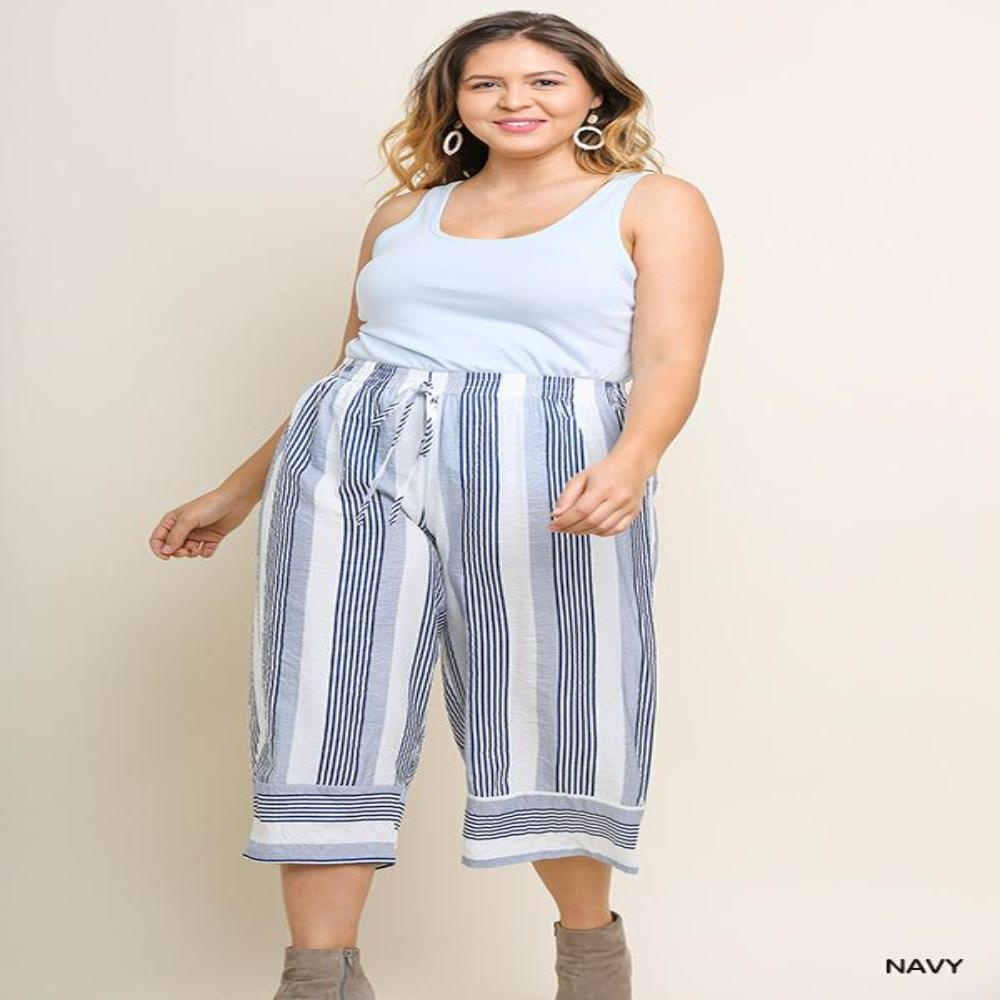 Navy Striped Wide Leg Cropped Pant