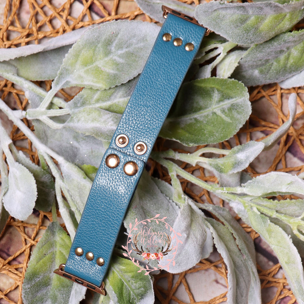 Blue Leather Watchband