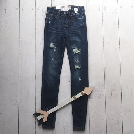 Dark Skinny Jeans with Destroyed Patches