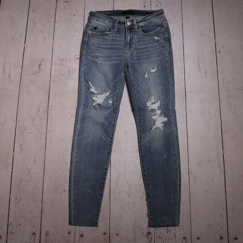 Light Wash Tie Dye Hem Jeans