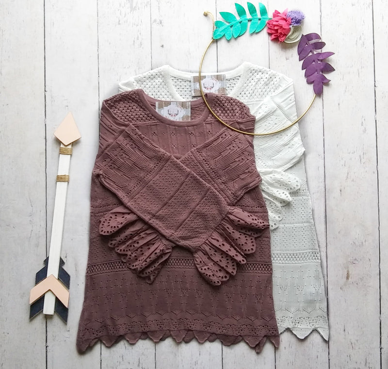 Purple Crochet Sweater with Scalloped Hem