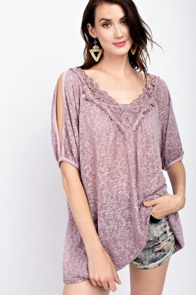 Pink Lace Cold Shoulder Top