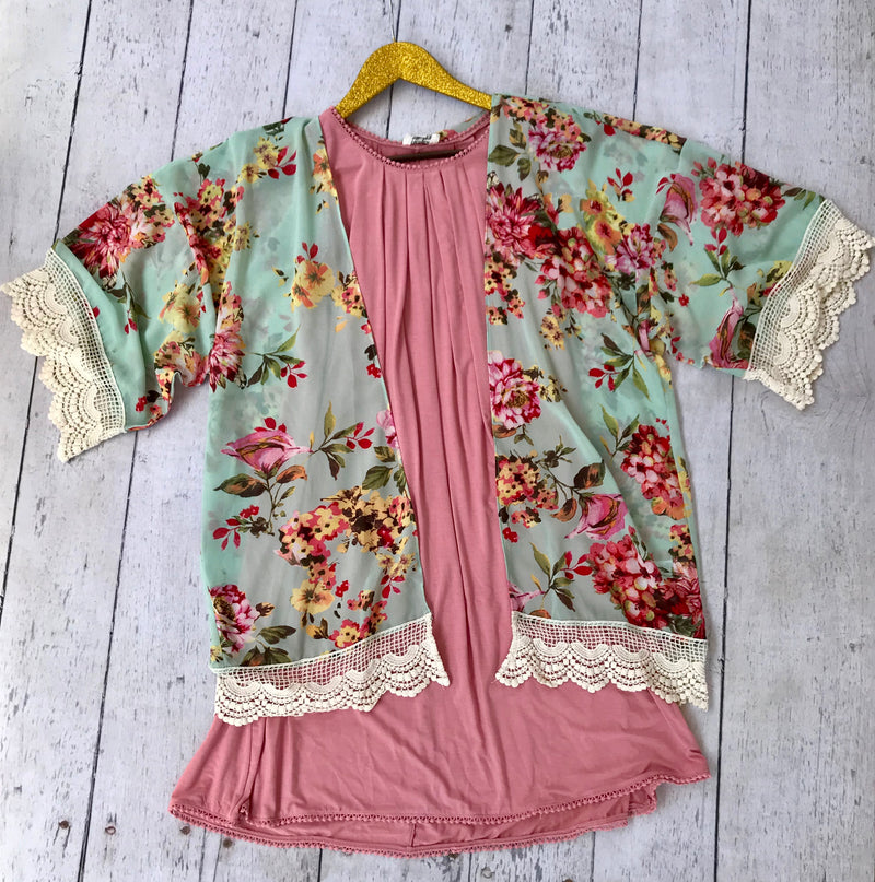 Navy Floral Kimono with Ruffle Sleeves