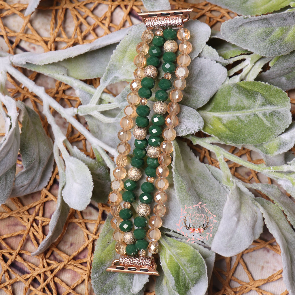 Green Beaded Watchband