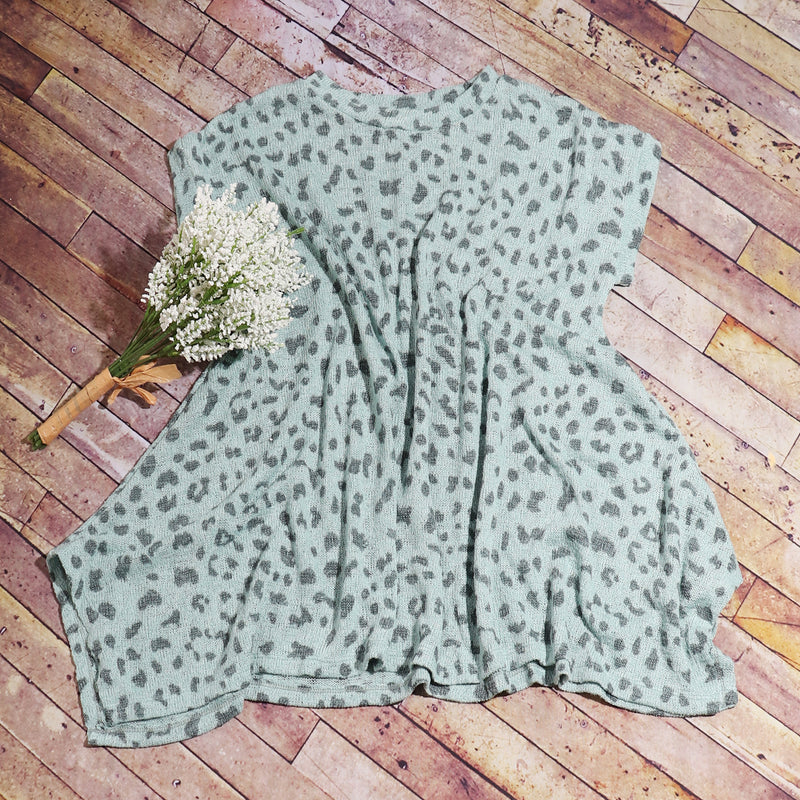 Sage Leopard Knit Top