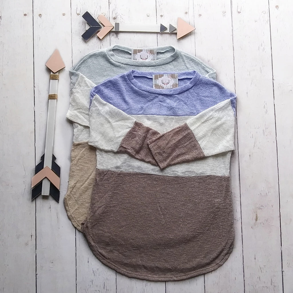 Light Sage Knit Color Block Top